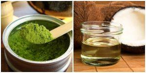 Bột trà xanh trộn dầu dừa