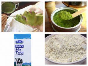 mặt nạ bột trà xanh cám gạo