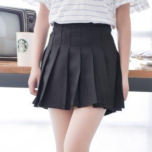 chân váy xếp ly ngắn màu đen