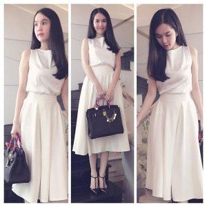 Váy trắng dài qua gối