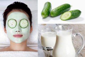 Cách làm trắng da mặt tự nhiên nhanh nhất bằng dưa leo & sữa chua.