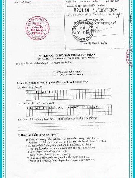 Mỹ Phẩm Fuji White Đã được Bộ Y Tế cấp phép chứng nhận