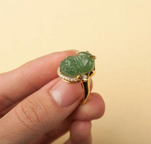 Nhẫn Tỳ hưu Nữ đá thạch anh xanh lá cây - hình 01