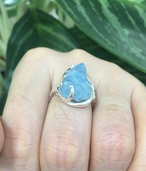 Nhẫn Tỳ hưu Nữ đá thạch anh xanh Nước Biển - hình 01